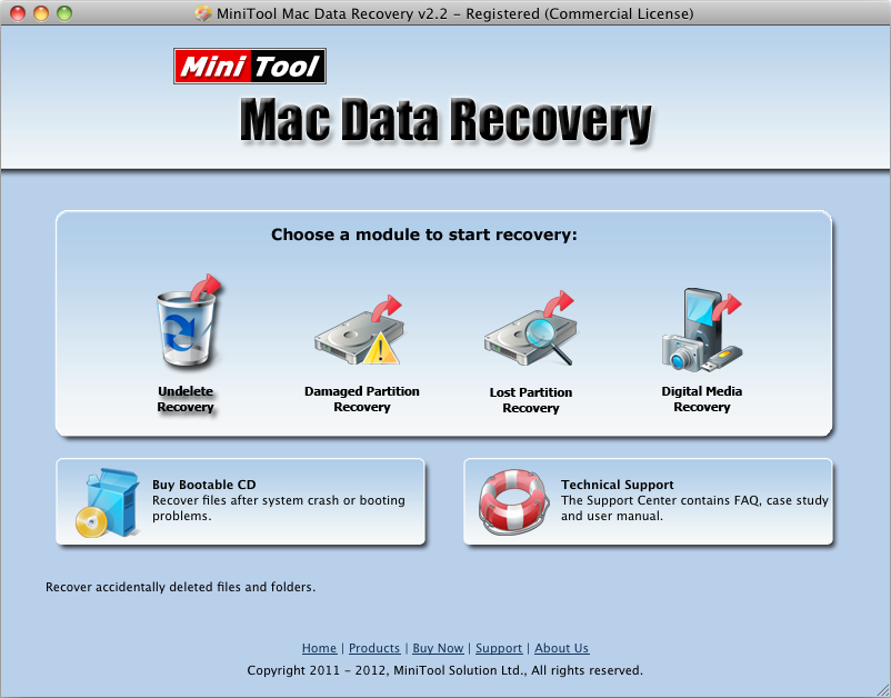 in the main interface of professional mac deleted file recovery software users need to click undelete recovery function module for mac file recovery